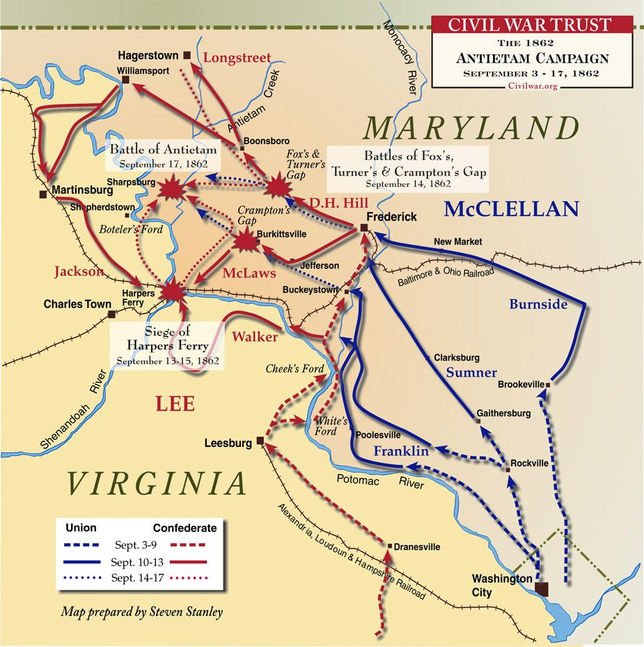 Civil War Battle Maps Antietam Battle Of American Civil War From - Map of us at start of civil war
