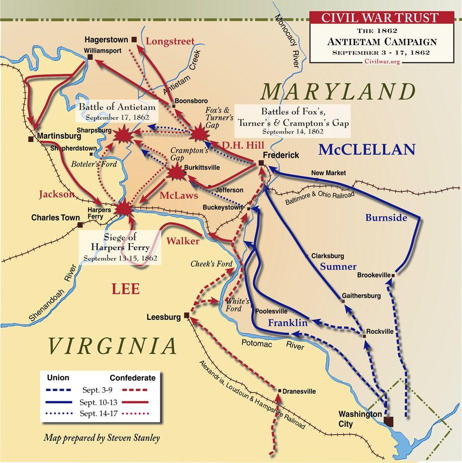 Civil War Battle Maps | Antietam Battle of American Civil War from ...