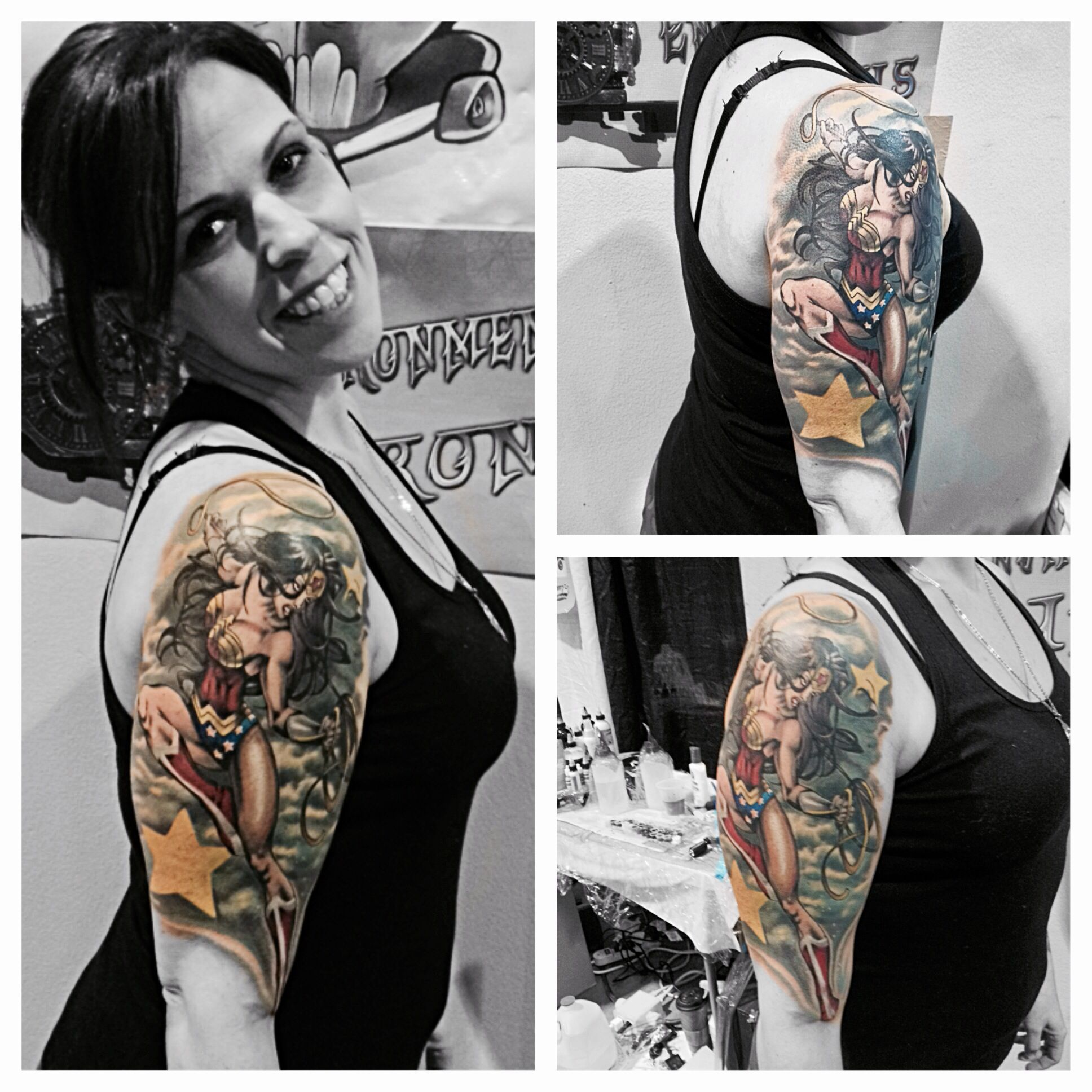 55c9fda2d There she is my sleeve!! Took 6 hours and totally worth every minute! # wonderwoman #tattoo