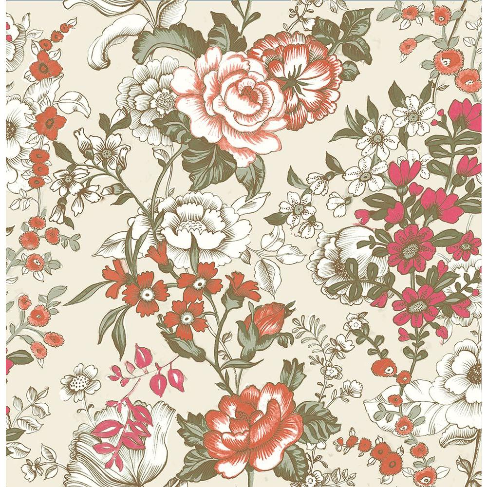 A Street Ainsley Red Boho Floral Wallpaper Sample Embossed
