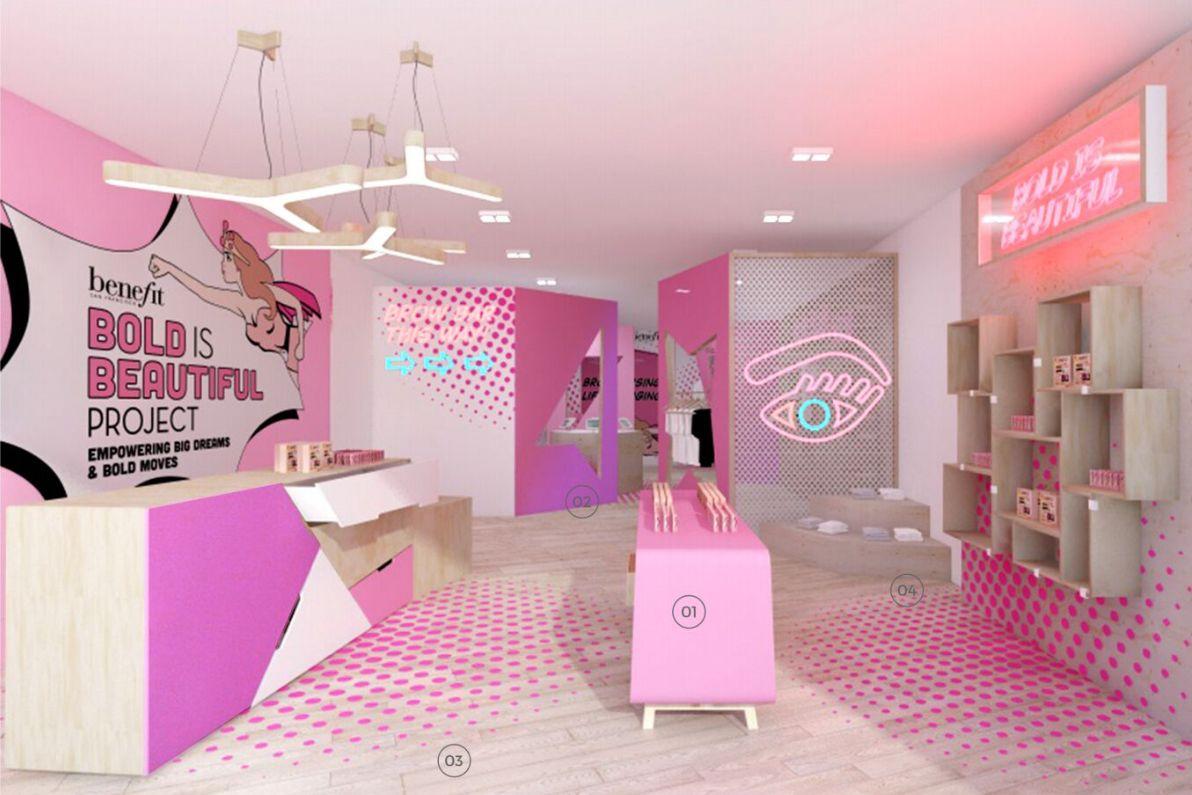 Prop Studios retro concept popup store design for Benefit