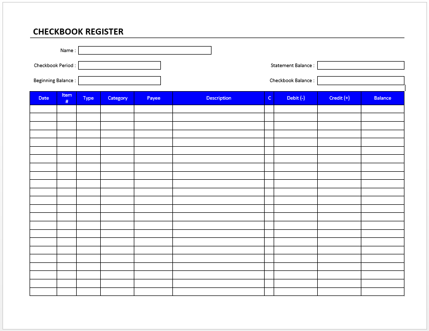 Checkbook Register | Official Templates | Pinterest | Checkbook ...