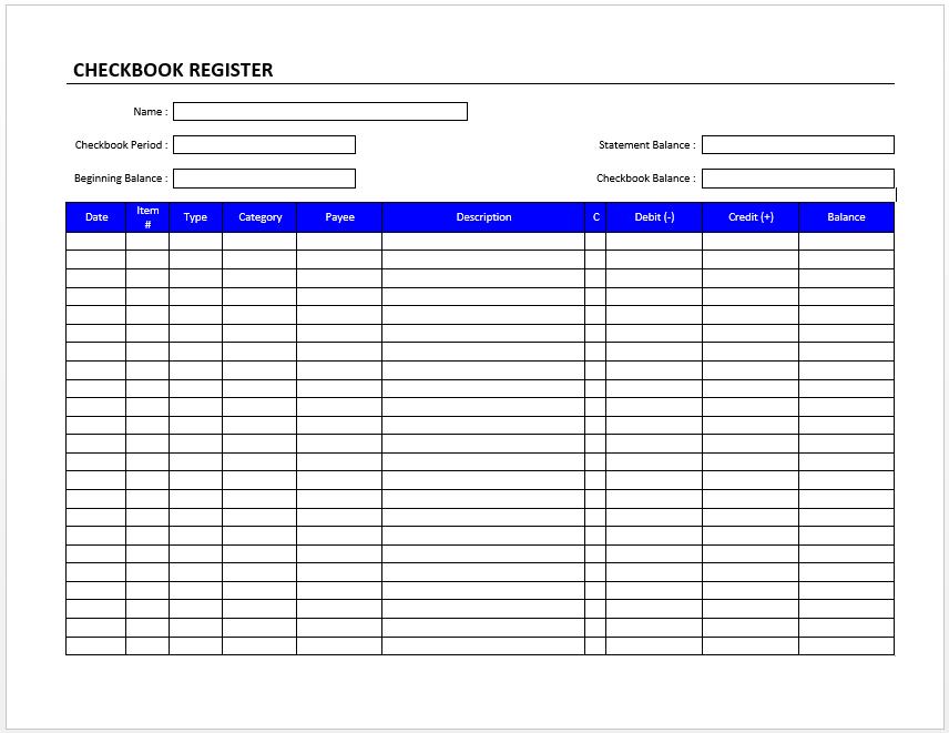 Checkbook Register Check Register Printable Check Register Checkbook Register