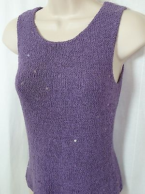 KATE HILL Petite Purple Knit Blouse P S Sequin Sleeveless Silk Blend Top 0115035