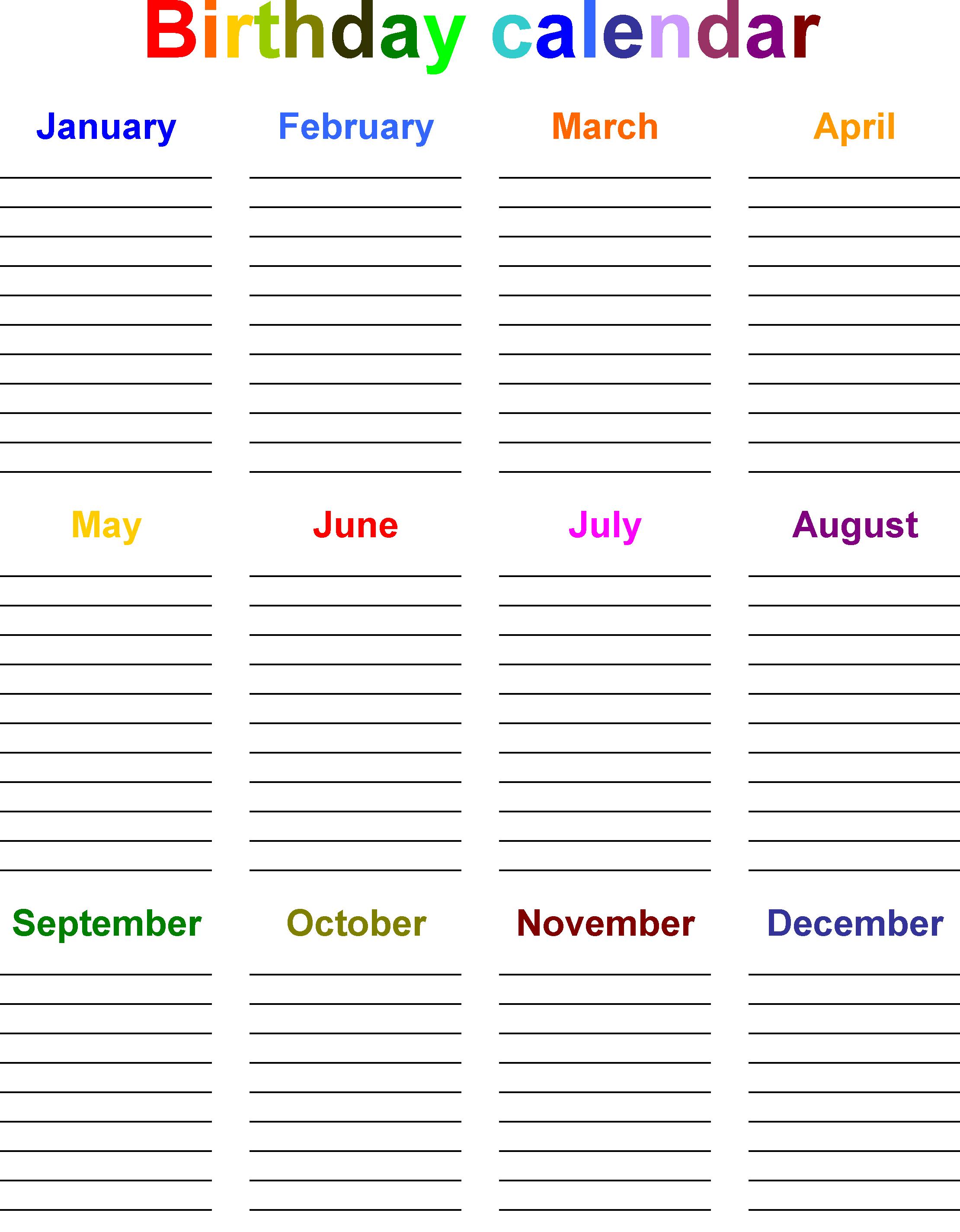 Birthday Calendar Template Birthday Calendar Template Pinterest