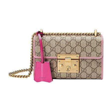 Gucci Padlock GG Supreme Small Shoulder Bag - Beige-Rose