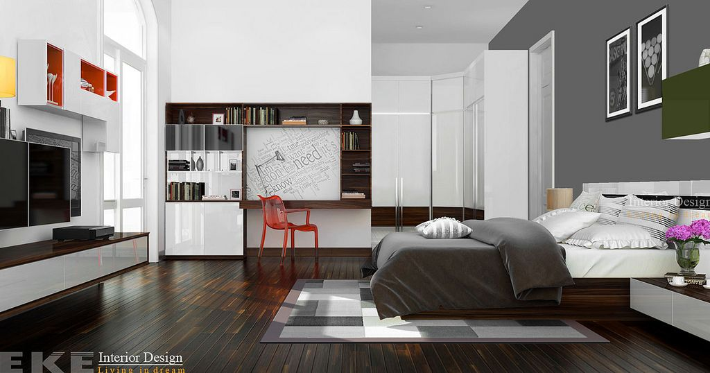 Tuananh Ekes Modern Masculine Bedroom In Shades Of Grey With A  Retroinfluence