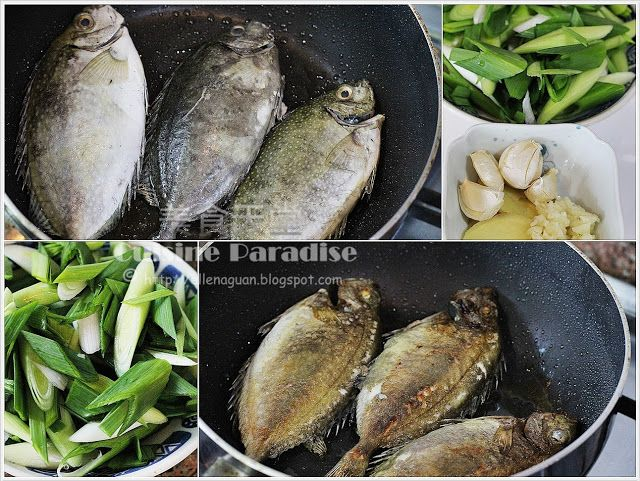 Chinese New Year Dish: Pan-fried White Spotted Rabbitfish with Leeks
