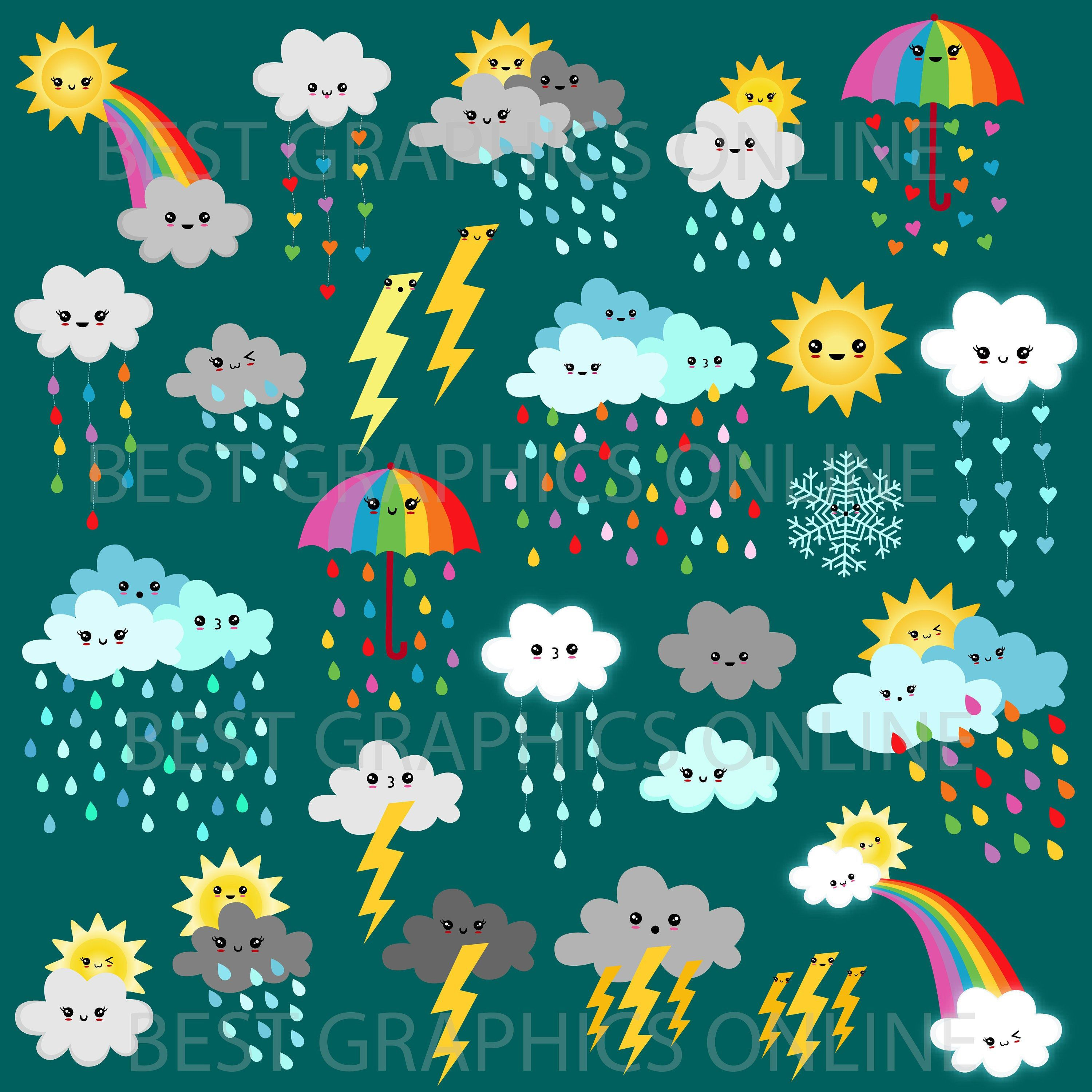 Weather Clipart Weather Graphics Commercial Use Forecast Clipart Planner Accessories Weather Ico Kawaii Clipart Weather Clipart Chalkboard Poster Birthday
