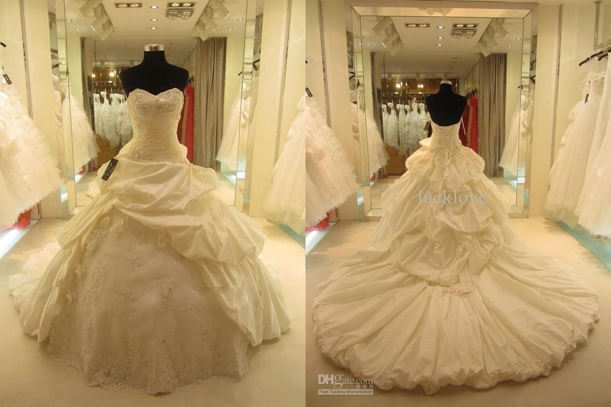 Cheap real dress elegant ball gown sweetheart cathedral train