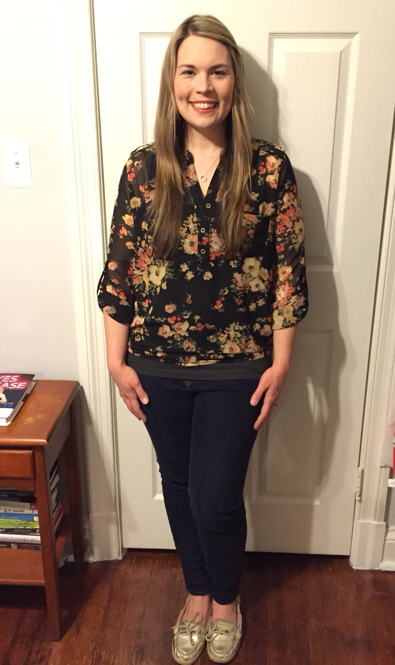 My first Stitch Fix - February 2015. This is the SWEET RAIN Isaac Floral Print Tab-Sleeve Blouse. It's a sweet pattern and fits nicely. Looks good with the sleeves down or folded up at the tab.