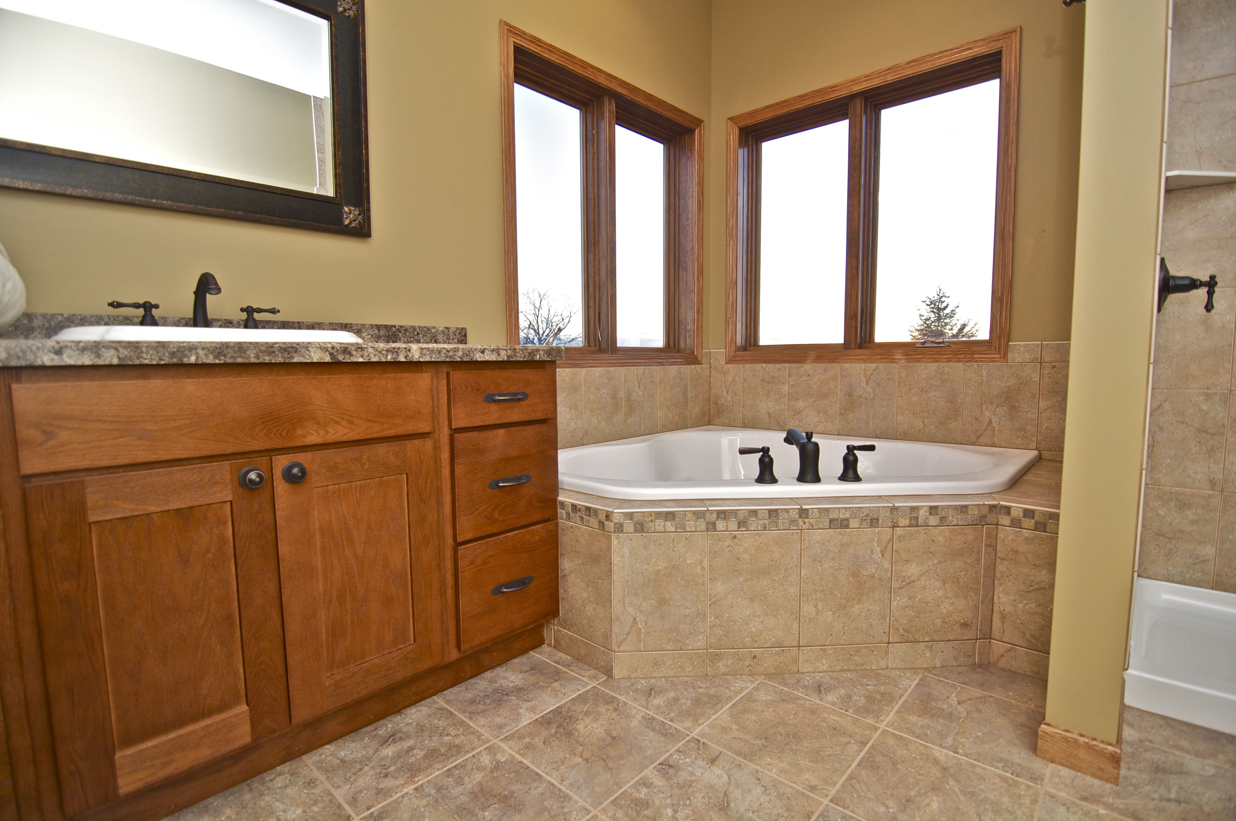 The Bathroom: shower, bathtub and sink along with 2 windows in the corner