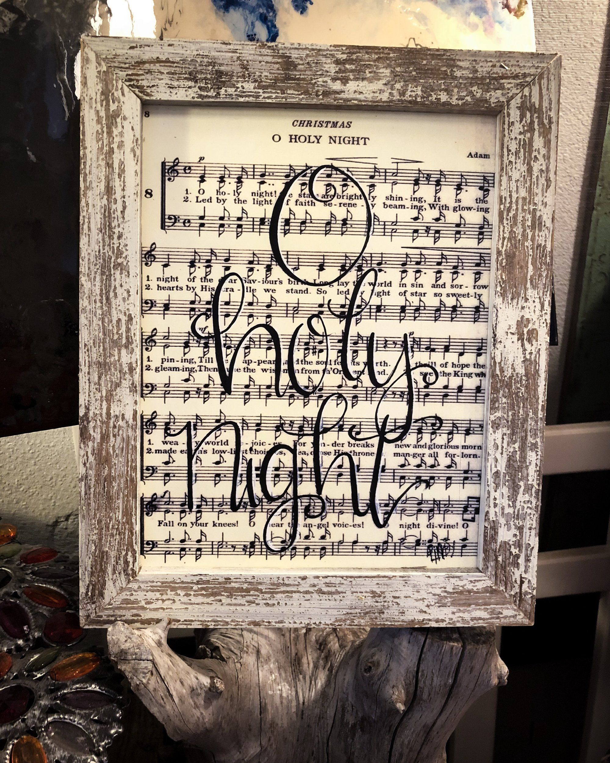 O Holy Night on Sheet Music With Reclaimed Frame for Christmas | O holy night, Holy night ...