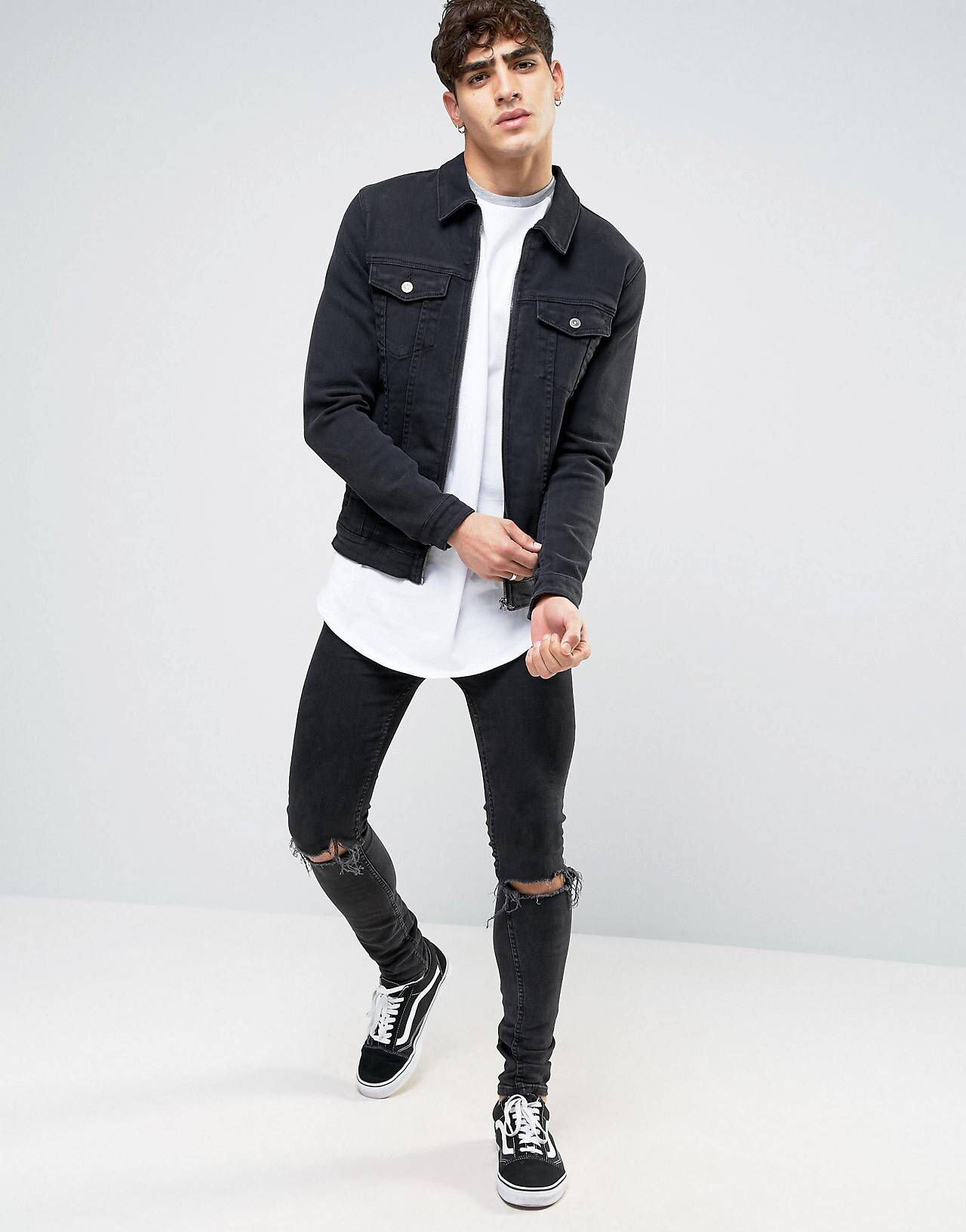 Skinny Fit Zip Through Western Denim Jacket In Black ...