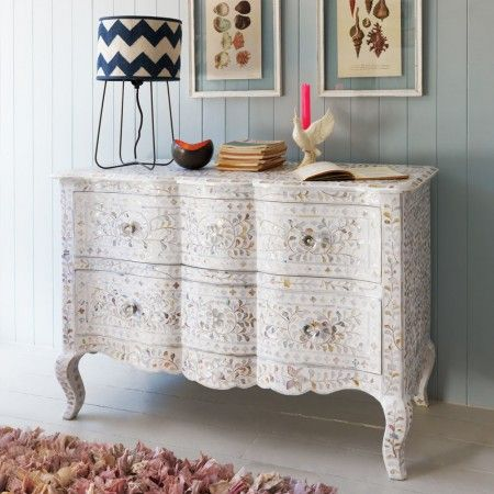Antonia Mother of Pearl Inlay Chest of Drawers in White. A type of furniture Im starting to love!