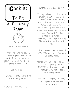 picture relating to Printable Reading Fluency Games identify Creating Far better Guests: Supplies For Training Fluency