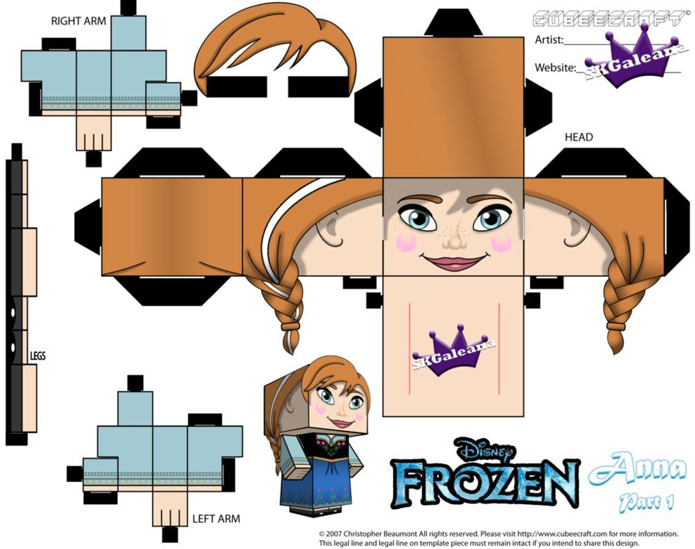Anna From Disneys Frozen Cubeecraft Template P1