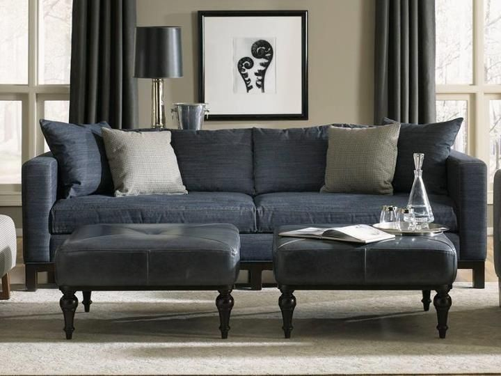 Chic denim sofa with navy leather gray walls black white accents family rooms pinterest Denim couch and loveseat