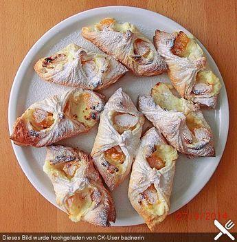Schnelle Blätterteig - Vanillepuddingteilchen küche Pinterest