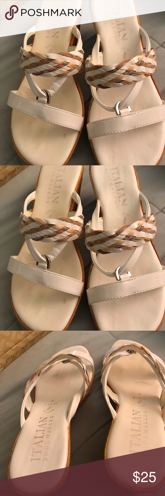 White leather wedge ladies sandals size