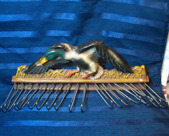 Vintage Mallard Duck Tie Rack/ Mens Belt Holder/ by CurioCabinet, $22.00