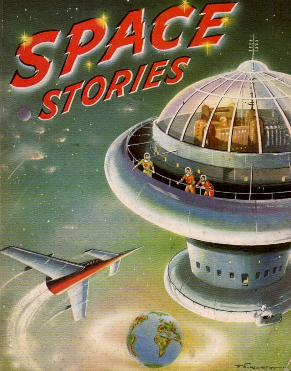 SPACE STATION PRINT 1950s space rocket space by ...