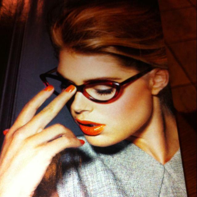 Glasses, hair, matching lips & nails