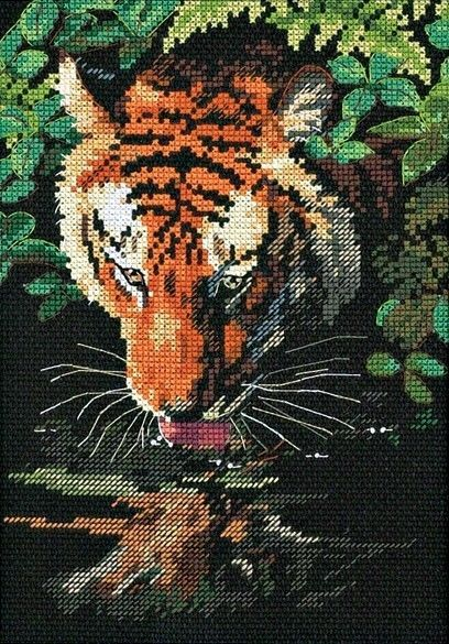 Dimensions Crafts - Tiger Reflection Counted Cross Stitch Kit # 6961