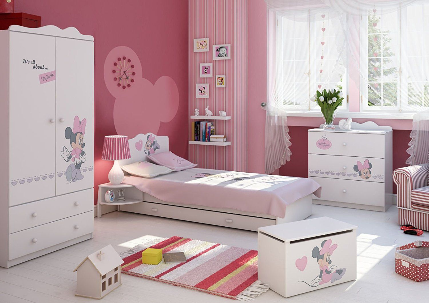 Traumhaft sch nes minnie mouse kinderzimmer kinderm bel minnie mouse komplettes - Minnie mouse kinderzimmer ...