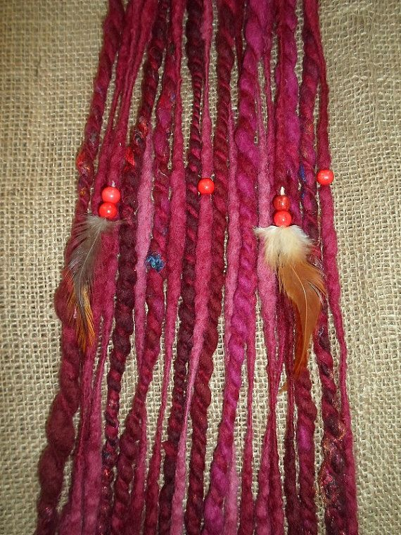Clip In Dreads Dark Red Handspun Felted by tinkertailoruk on Etsy, $17.00