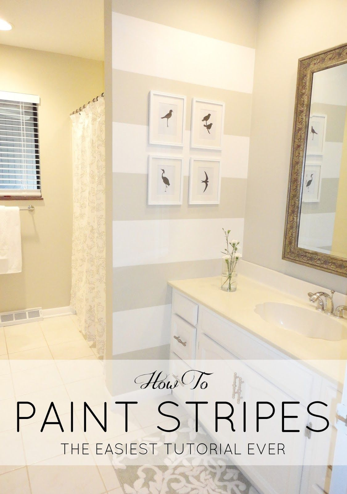 DIY: How to Paint Stripes on a Wall + A $200 Bathroom Update ...