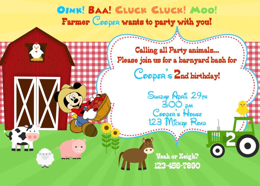 Farm Invitation With Or Without Mickey Or Minnie Mouse
