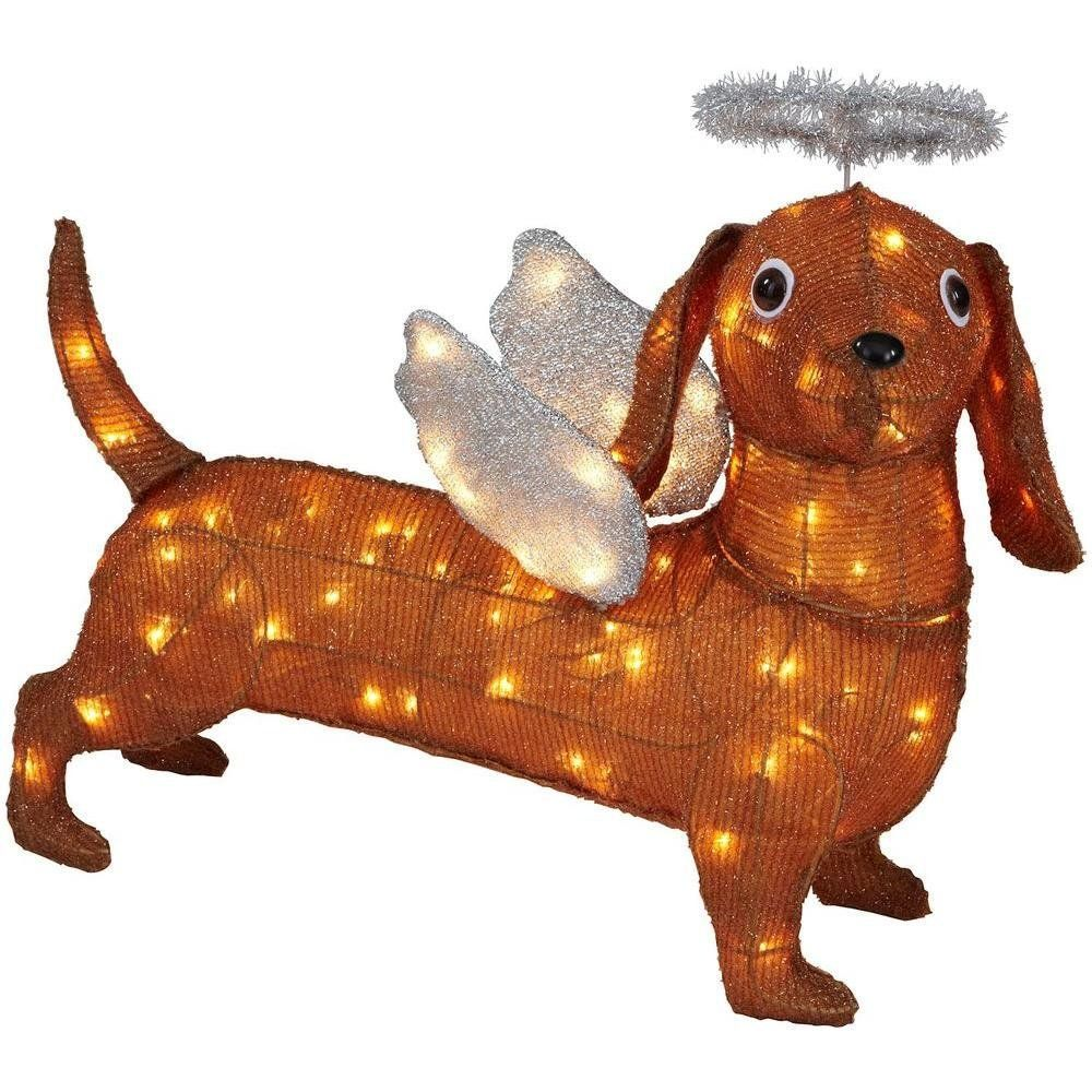 New Christmas 26 Lighted Brown Tinsel Weiner Dog Dachshund Silver Angel Wings Homedecor Dachshund Christmas Christmas Yard Decorations Dachshund