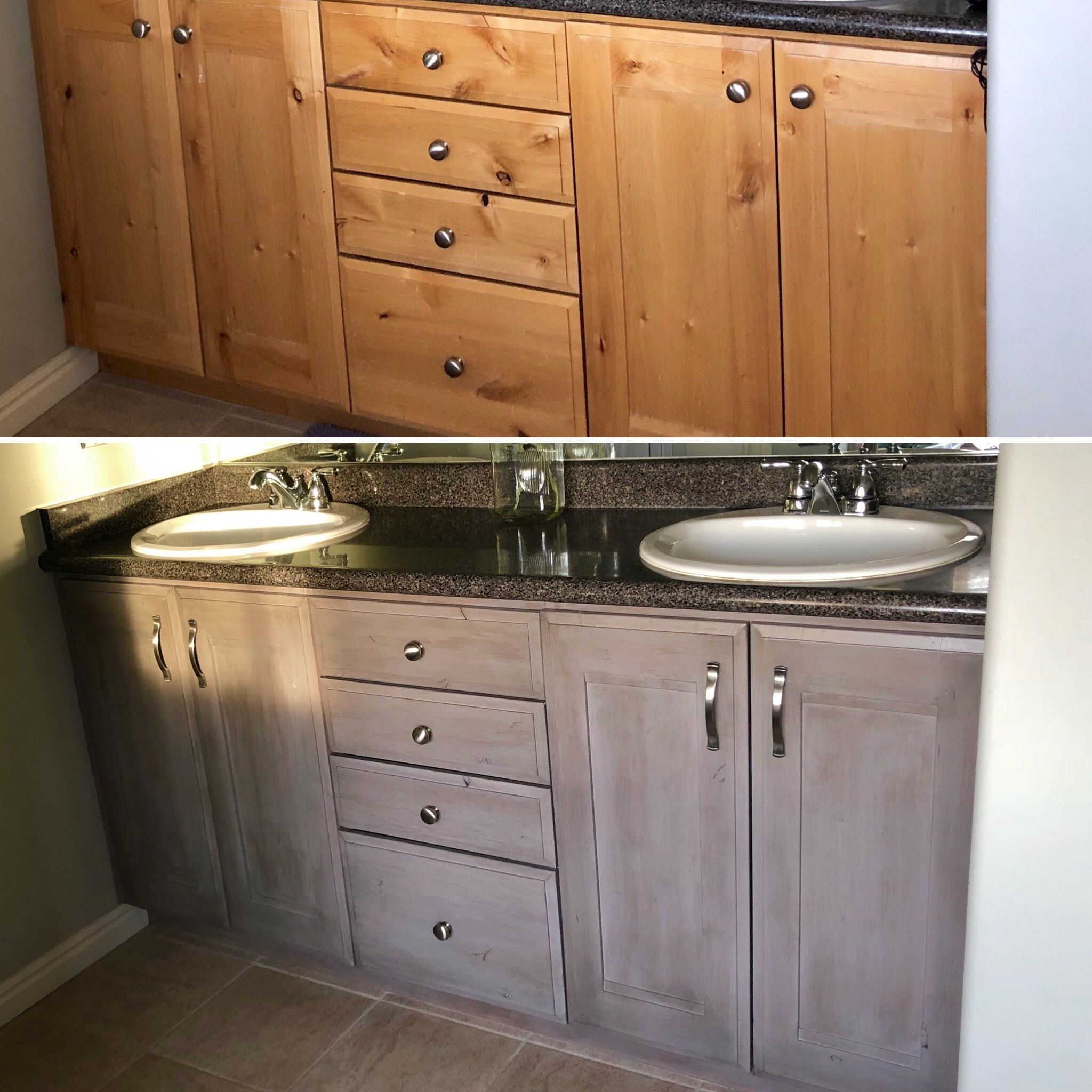 Knotty Alder Before And After I Used Oldmasters Gel Stain Brushing On A Stained Kitchen Cabinets Kitchen Cabinets Before And After Gel Stain Kitchen Cabinets
