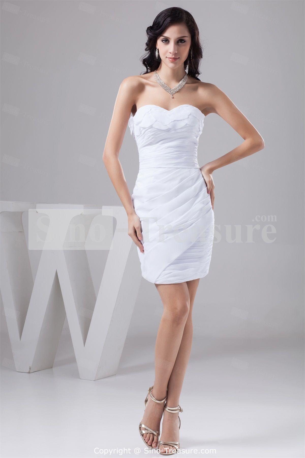 White Short Mini Chiffon Strapless Summer Bridesmaid Dresses Wedding Events Party