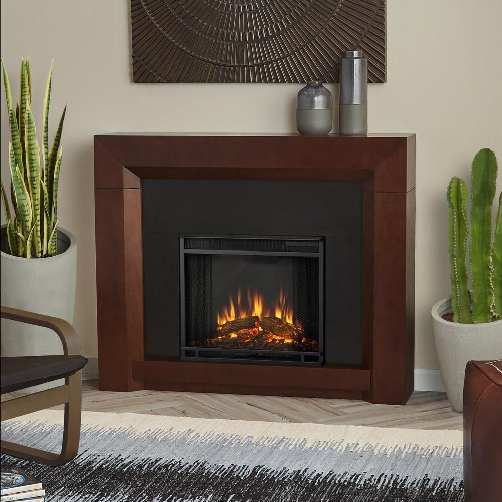 real flame colton 48 in ventless electric fireplace in dark