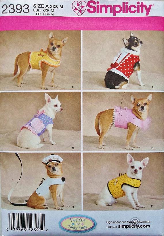 Dinky Dog Harness Vest Pattern Sz Xxs To Med Simplicity 2393