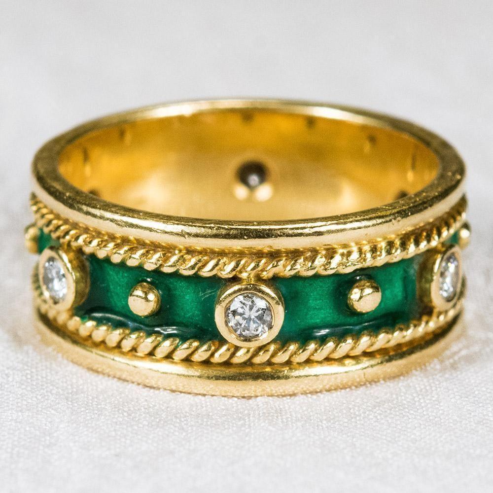 Etruscan Enamel Diamond Ring 18k Gold Stacking Diamond