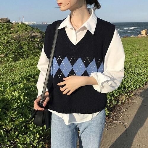 Photo of Women Sleeveless Pullover Autumn 2020 England Style Vintage Geometric Rhombic V Neck Knitted Sweater Vest Black Waistcoat T360 – One Size / Black
