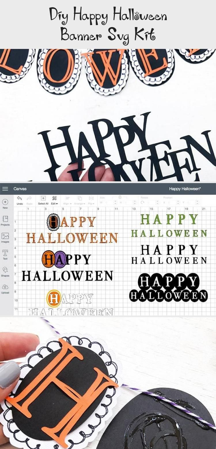 DIY Happy Halloween Banner SVG Kit - 100 Directions #bannerFlores #bannerVector #Namebanner #Travelbanner #Welcomebanner #happyhalloweenschriftzug