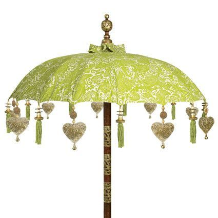 Awesome Decorative Table Top Balinese Umbrella   Green U0026 White