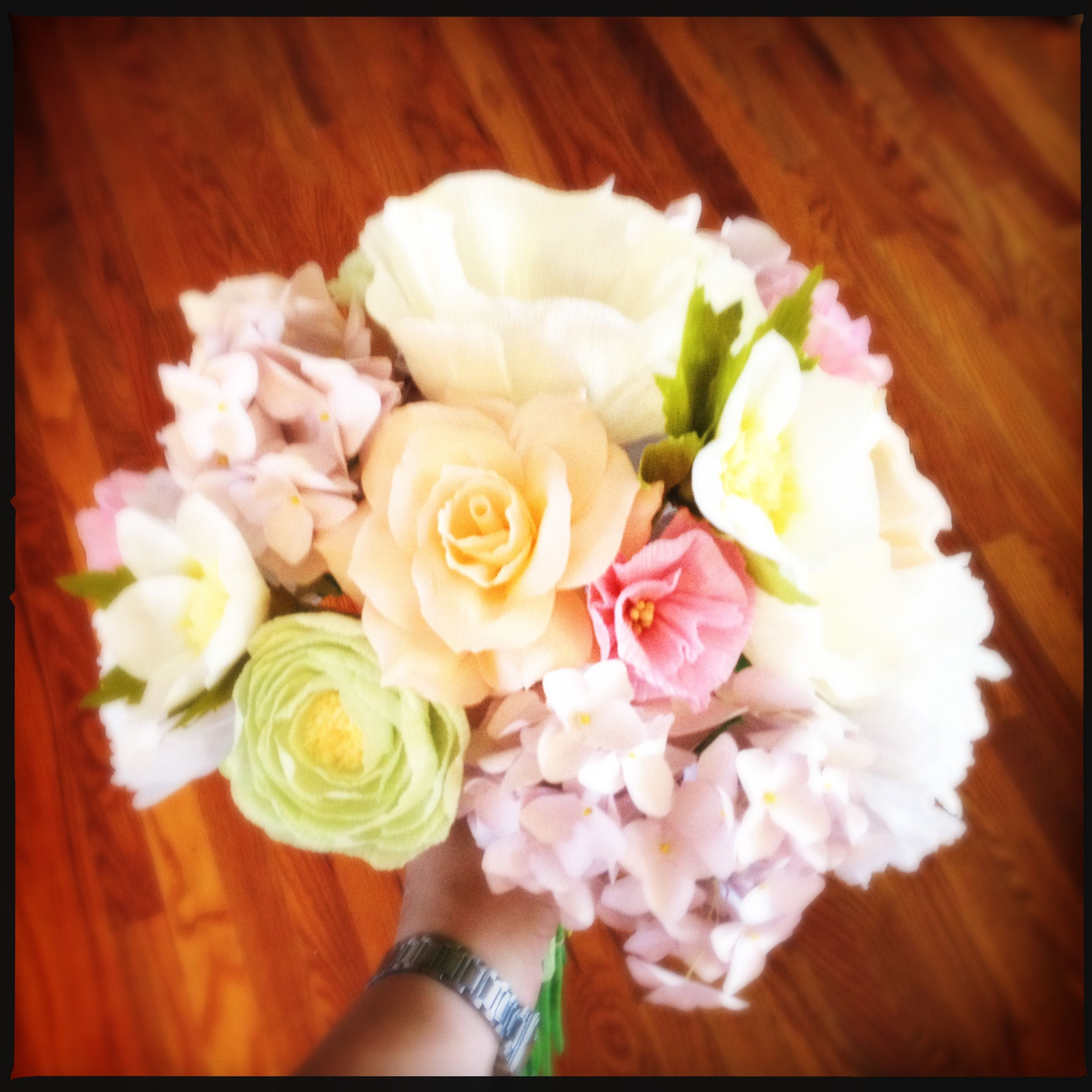 Custom paper flower bouquet - white peonies, ivory icelandic poppies ...