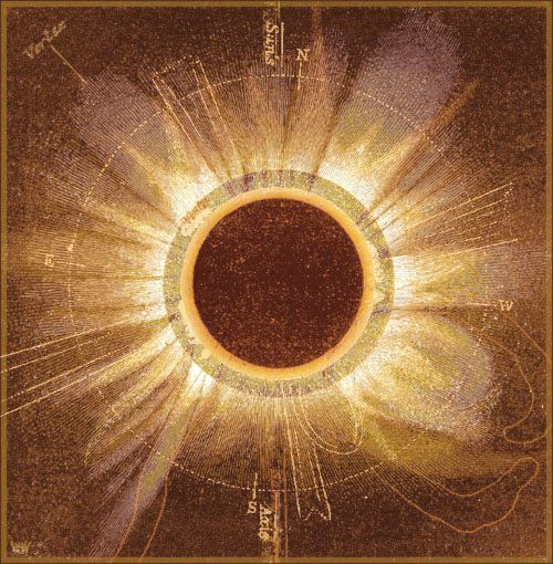 Jaime Morrison, Colour composite of six hand drawn black and white images, each by a different astronomer, of a total solar eclipse which occurred on July 18th 1860,