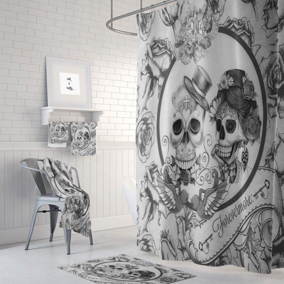 Sugar Skull Forever More Shower Curtain Skull Bathroom Decor Skull Couple Towel Bath Mats Restroom Decor Curtains
