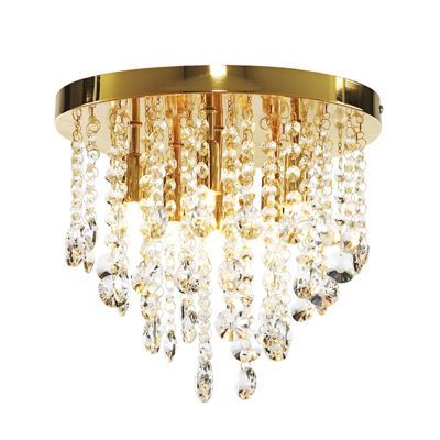 Litecraft Montego Gold 6 Light Crystal Ceiling At