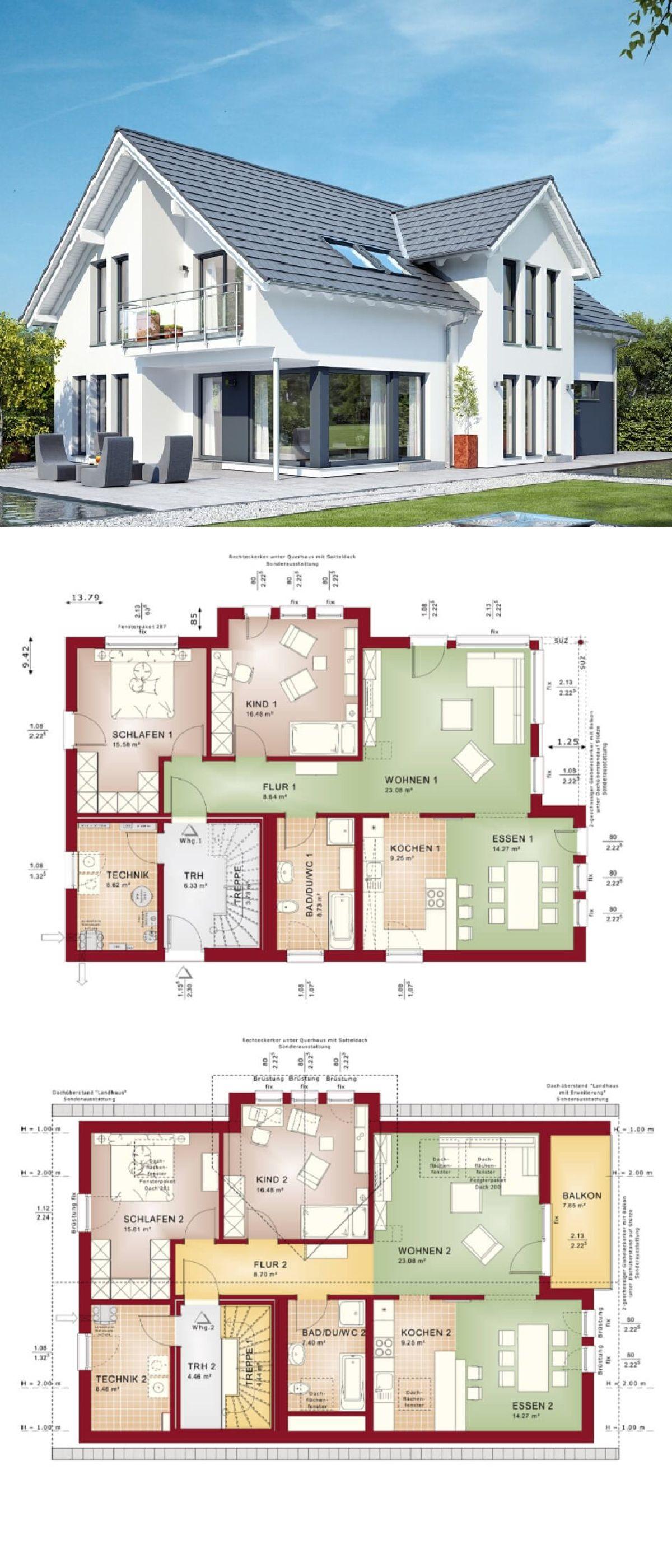 Zweifamilienhaus mit satteldach loggia und balkon haus for Zweifamilienhaus modern grundriss
