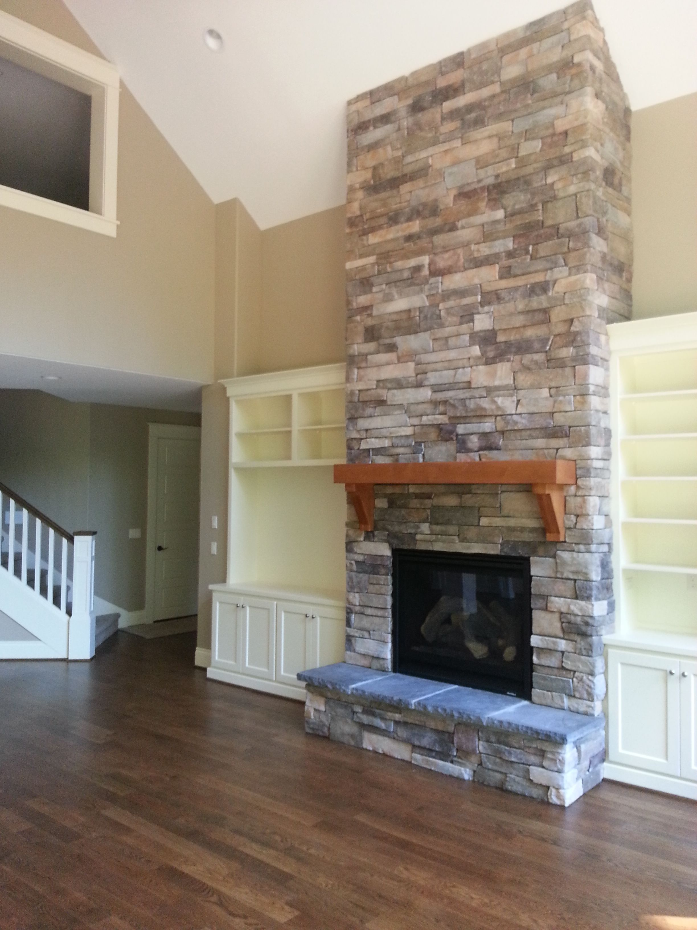Fireplace New Construction Cultured Stone Raised Hearth
