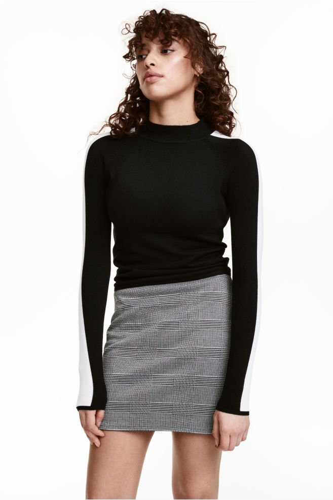 Falda estampada de punto - Negro Cuadros blancos - MUJER  f58a30143761
