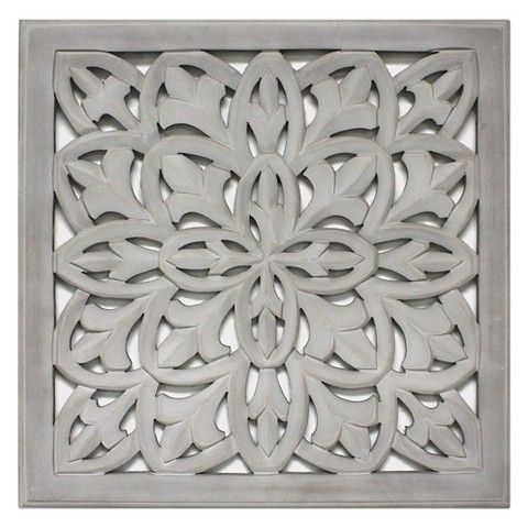 "Wall Decor Target carved wood panel 18""x18"" - gray 