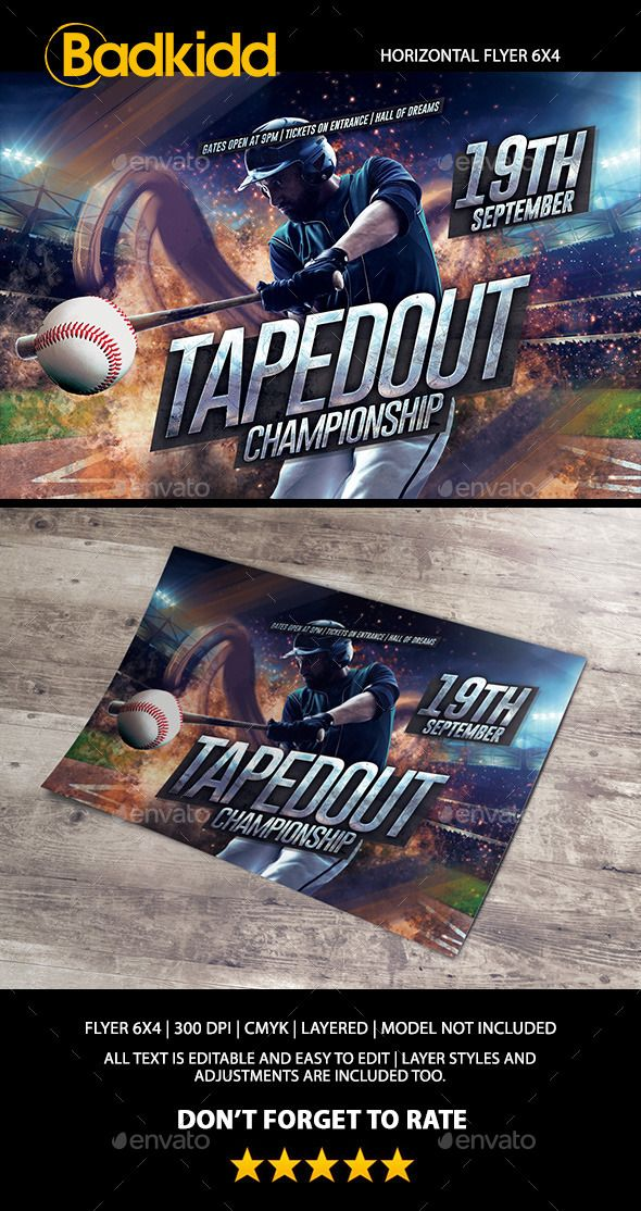 Baseball Horizontal Flyer  Flyer Size Event Flyers And Fonts